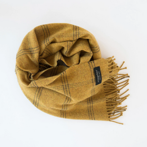 Merino Wool Wrap - Windowpane Burnt Yellow