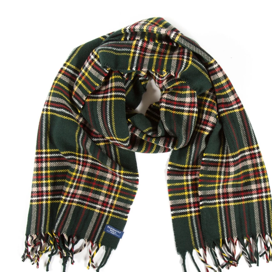 Stewart Plaid Wool Scarf - Green