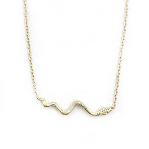 14k Tiny Snake w/ Diamond Eye Necklace