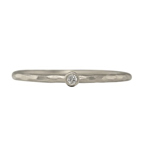 Facet One Diamond Stacking Ring - Sterling