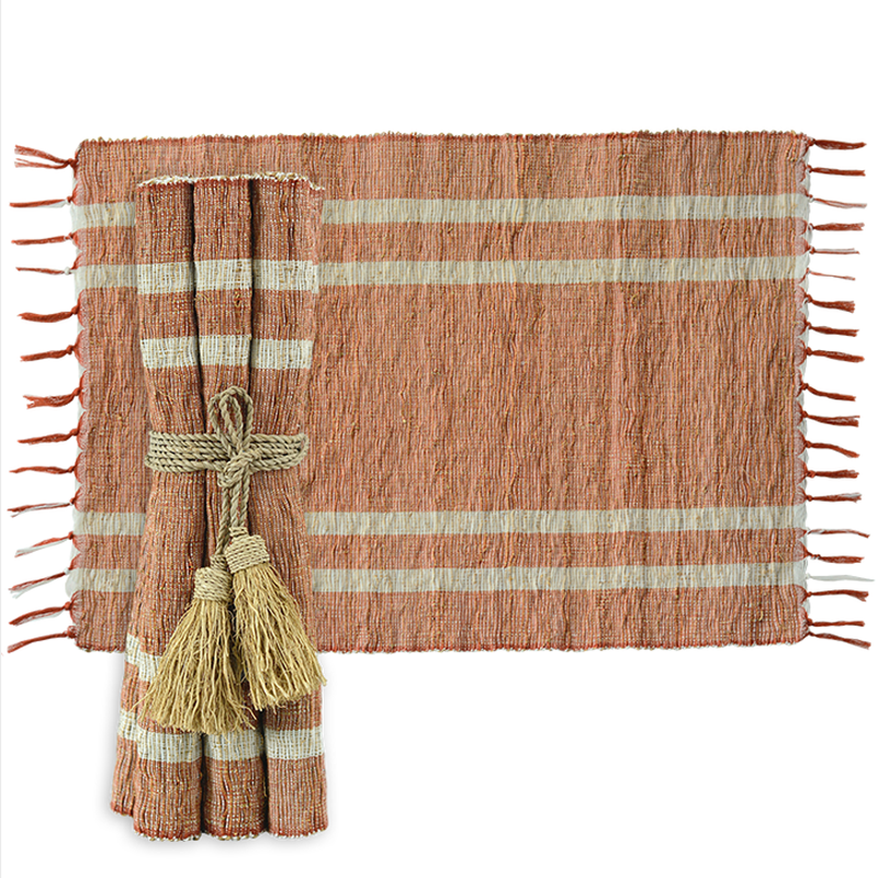 Vetiver Placemat  (Terracotta Stripe/Spice)