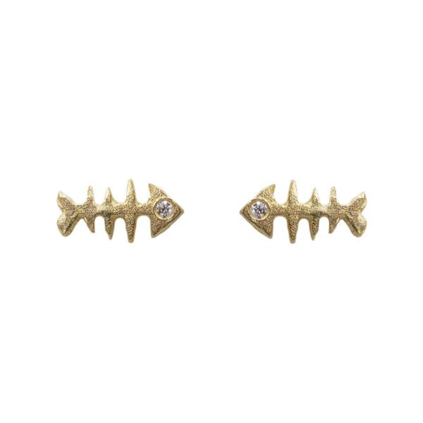 14k Fishbone Studs w/Diamond