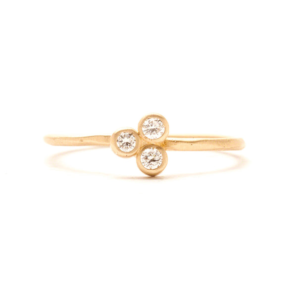 14K Diamond Clover Ring