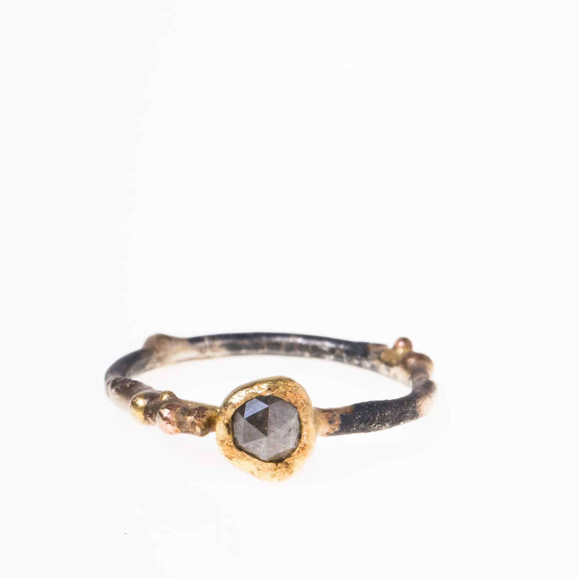 14-18K Grey Diamond Ring on Skinny Band - KESTREL