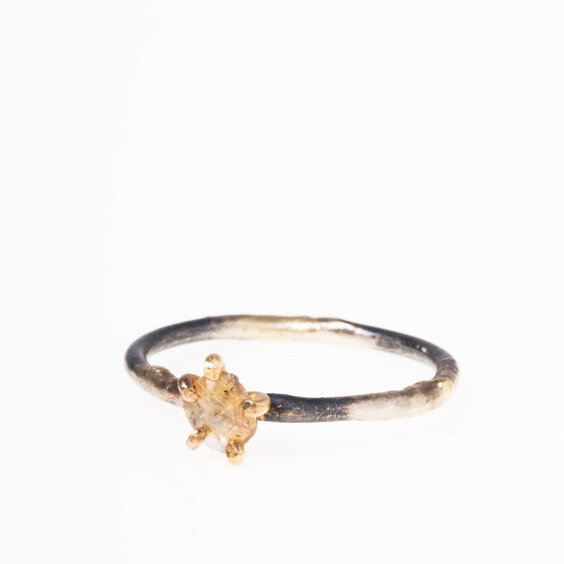 14K + 18K Clear Rosecut Diamond Ring on Skinny Band - KESTREL