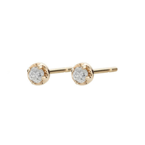 14K Tiny Diamond Prong Studs - KESTREL