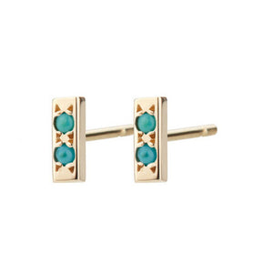 14K Bar Studs with Turquoise - KESTREL
