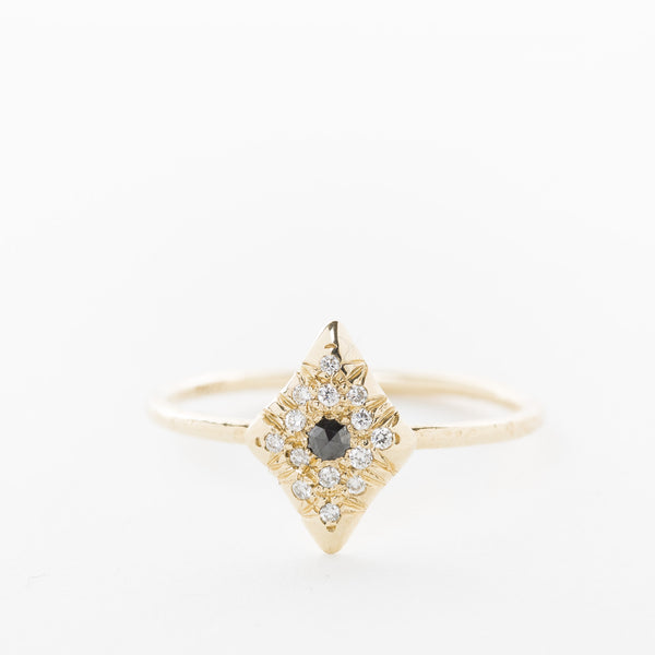 Rosecut Black + White Diamond Studded Ring