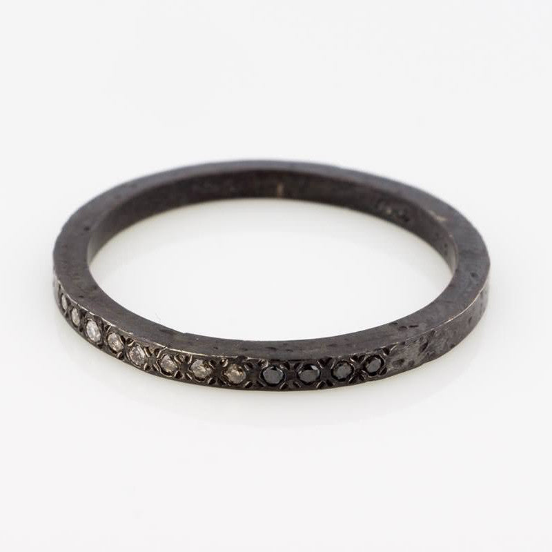 Oxidized Ombre Diamond Ring
