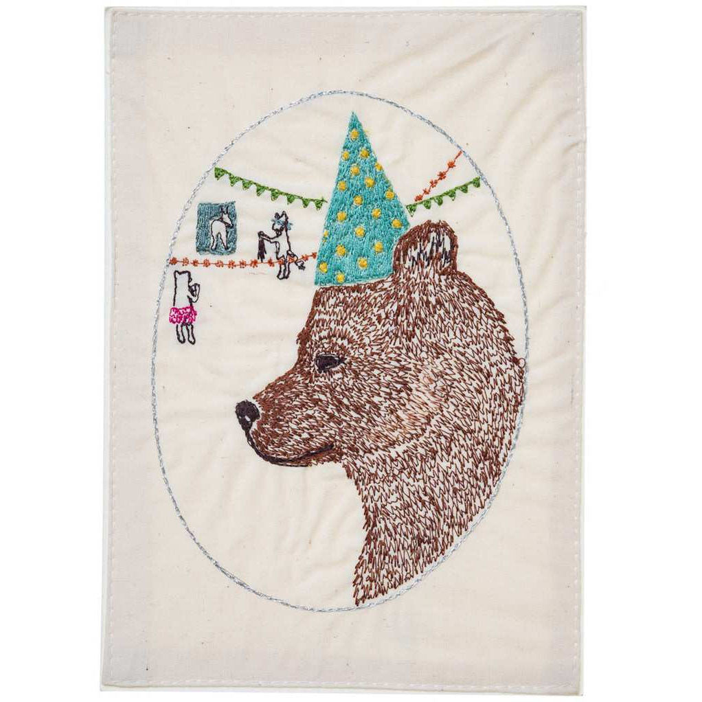Birthday Bear Embroidered Card