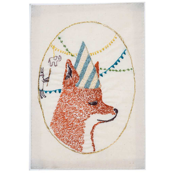 Embroidered Linen Birthday Fox Card