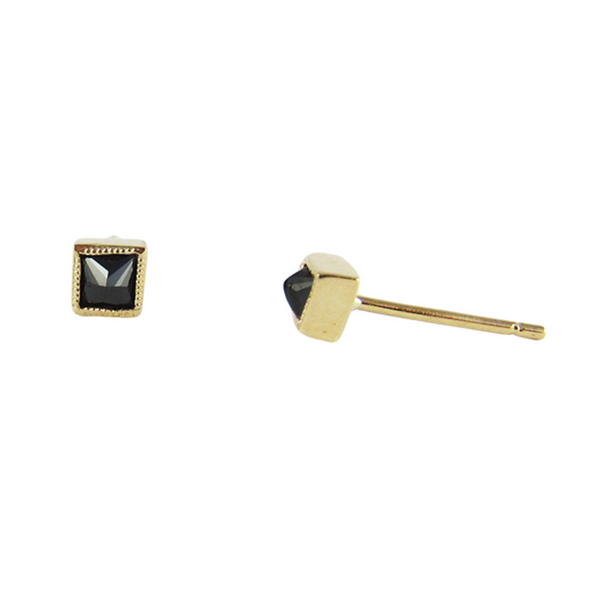 14K Black Diamond Square Studs