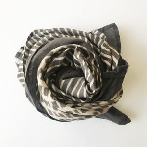 Block Printed Grey Scarf (Lines) - KESTREL