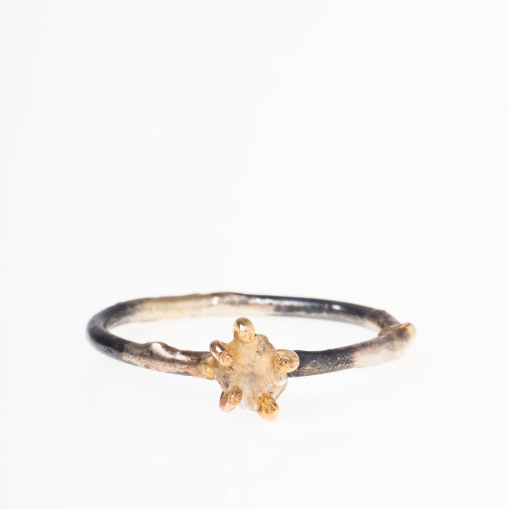 14K + 18K Clear Rosecut Diamond Ring on Skinny Band
