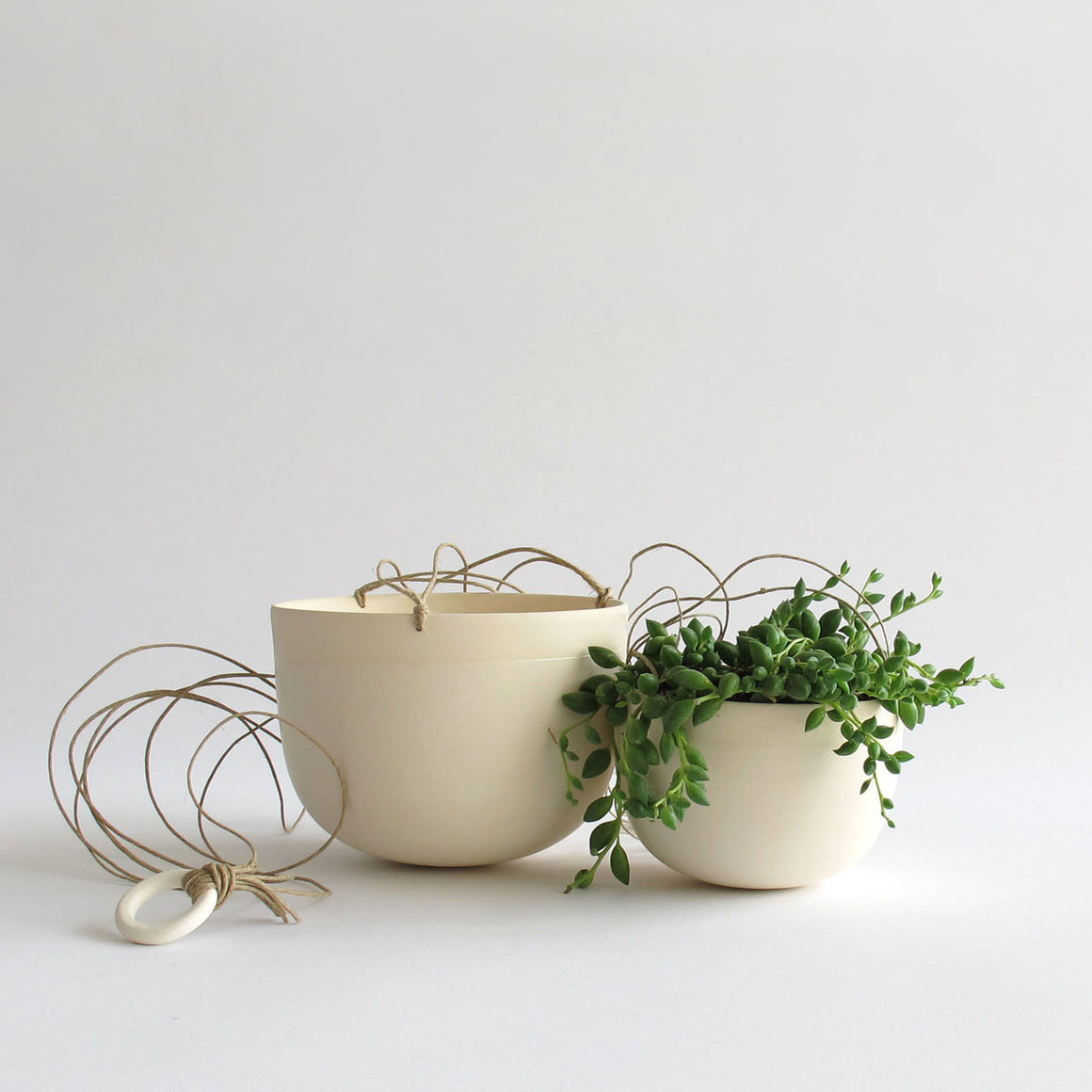 White Stoneware Hanging Planter - KESTREL