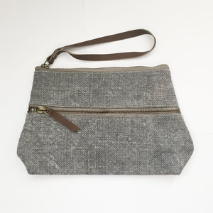 Washed Linen Double Zip Clutch