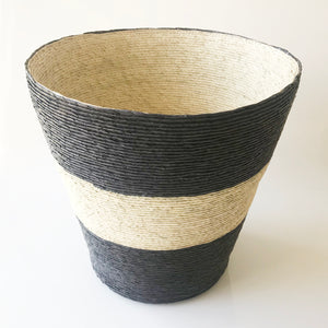 "Conical Basket 11"" Diameter - Black w/ Natural Stripe + Inside - KESTREL"