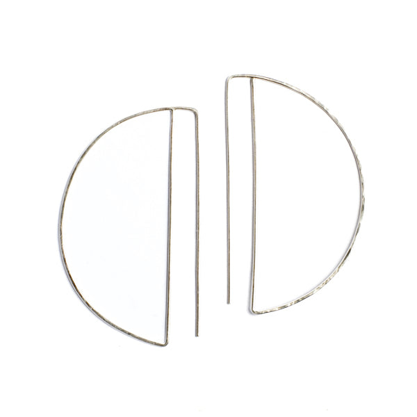 Medium Deco Hoops (Sterling)