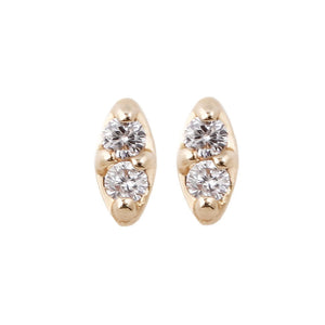 14k Duet White Diamond Studs
