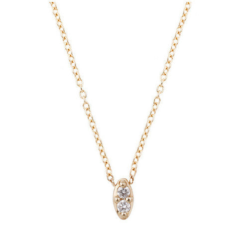 14K Duet White Diamond Necklace - KESTREL