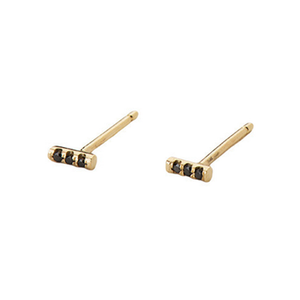 14K Equilibrium Bar Studs w/ Black Diamonds - KESTREL