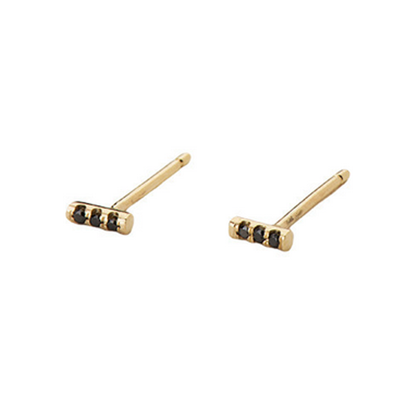 14K Equilibrium Bar Studs w/ Black Diamonds