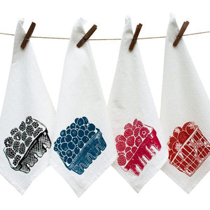 Screen Printed Cotton Berry Basket Napkin Set