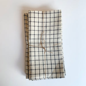 Set/4 Fog Linen Napkins - Black Grid