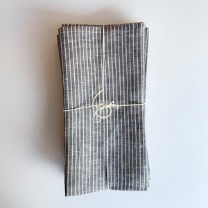 Set/4 Fog Linen Napkins - Grey Stripe