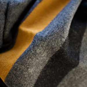Military Grey Blanket - Gold + Black Stripe (TWIN) - KESTREL