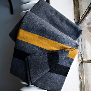 Military Grey Blanket - Gold + Black Stripe (TWIN)