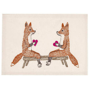 Smitten Foxes Embroidered Card - KESTREL