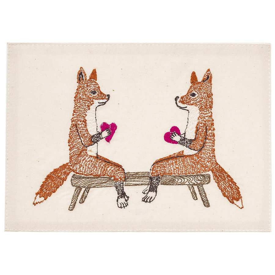 Embroidered Linen Smitten Foxes Card Stationary