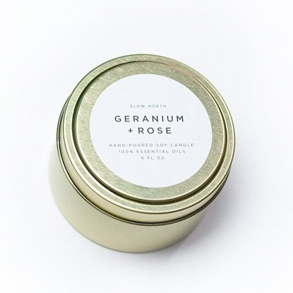 Geranium + Rose Candle Tin