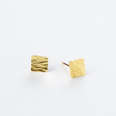 18K Hammered Square Studs