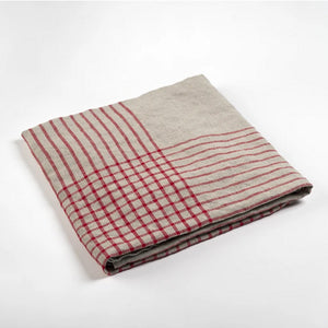 Grid Linen Dish Towel - Red