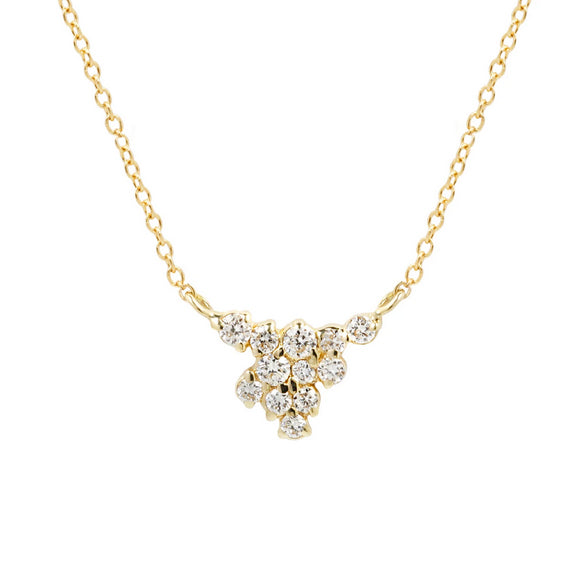 14k Helen Diamond Cluster Necklace