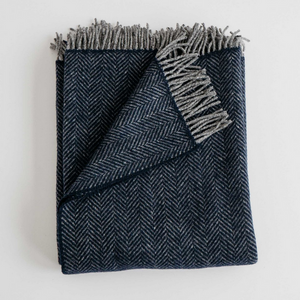Merino/Cashmere Herringbone Throw - Midnight Blue - KESTREL