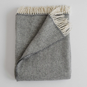 Merino/Cashmere Herringbone Throw - Graphite - KESTREL