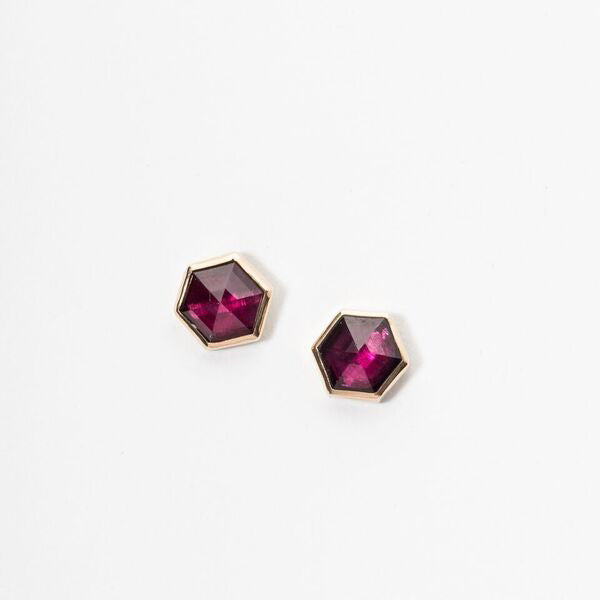 Rhodalite Hexagon Studs