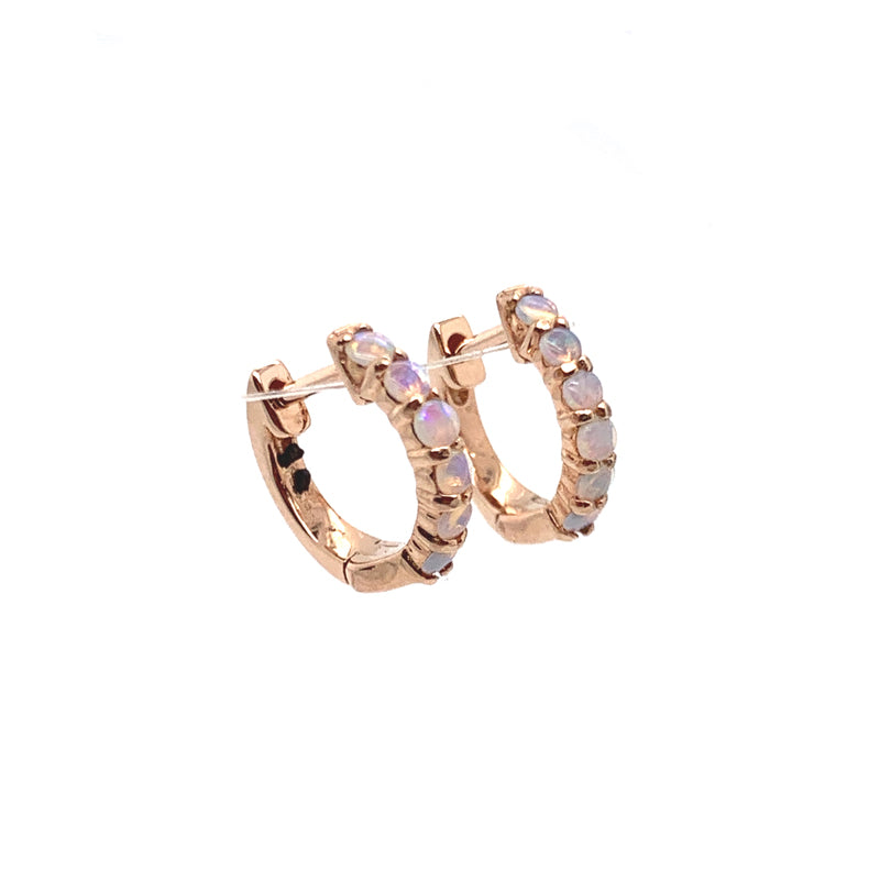 ** 14k Simple Opal Huggies **