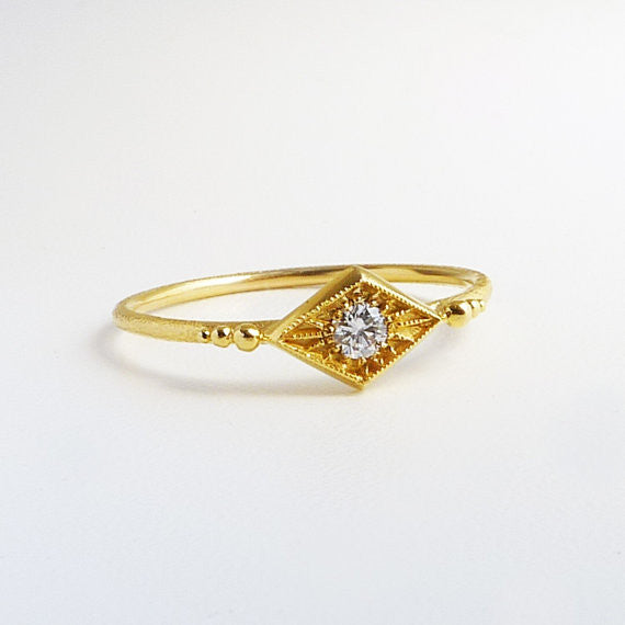 14K Deco Inspired Naoma Diamond Ring
