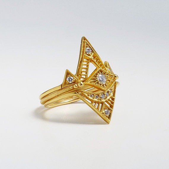 14K Deco Inspired Zilfa Diamond Ring