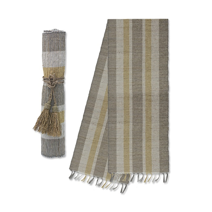 Vetiver Table Runner Yellow/Grey Stripe - KESTREL
