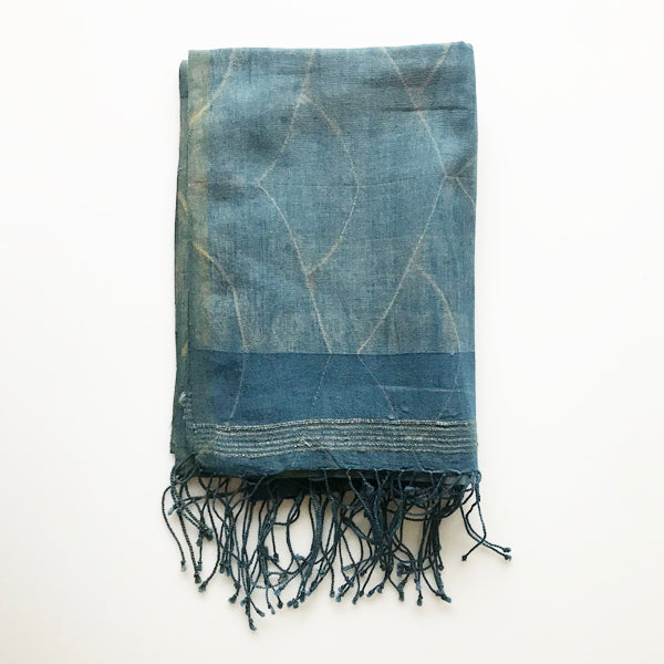 Indigo Scalloped Scarf - KESTREL