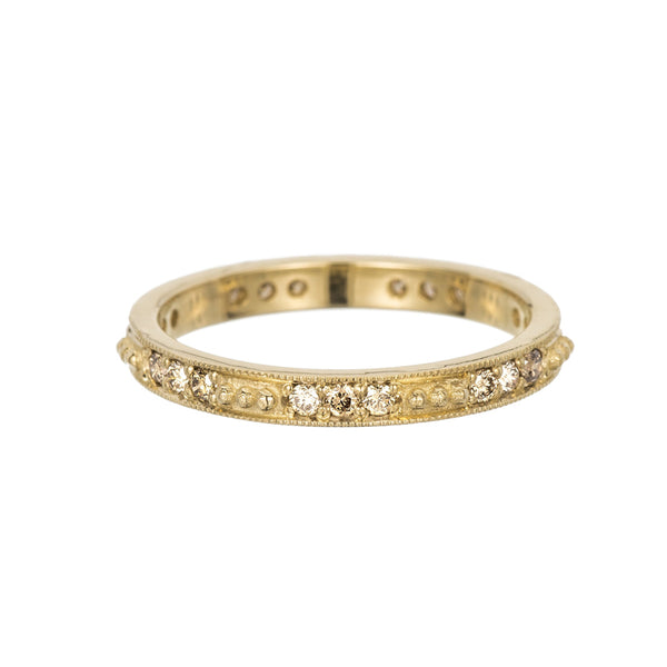 14K Champagne Diamond Beaded Band - KESTREL