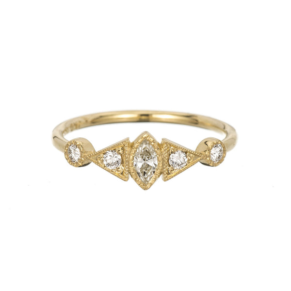 14K Diamond Marquise Duo Deco Ring - KESTREL