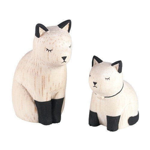 Tiny Wooden Cat Kitty Set