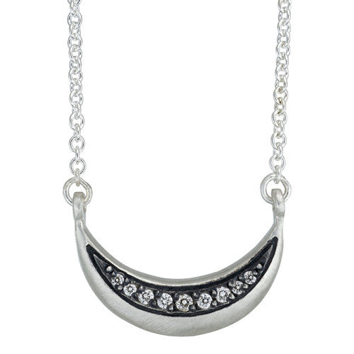 Sterling Lateral Large La Lune Necklace with Diamonds