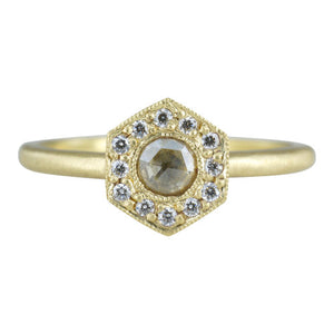 **18K Leona Diamond Halo Hex Ring** - KESTREL